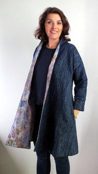 Manteau réversible en toile de soie bleue