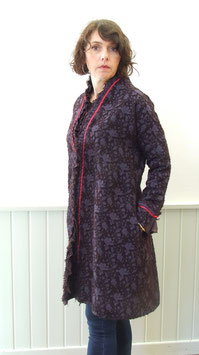 Manteau en velours dévoré brun rouge