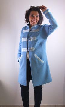 Manteau printemps sergé de laine bleu ciel
