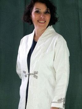 Manteau en jeans coton damassé lycra blanc