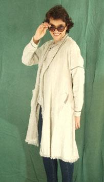 Ensemble manteau et haut lin gris et galon à petits pois