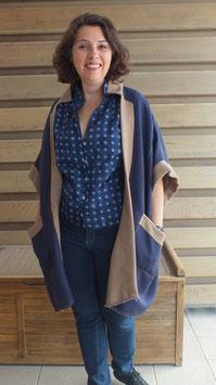 Manteau cape, coton double face
