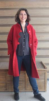 Manteau laine bouclette rouge
