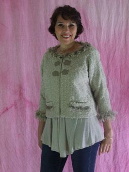 Veste tissage de laine beige et sable, pièce unique