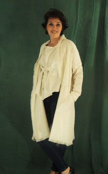 Manteau lin ivoire et galon satin assorti