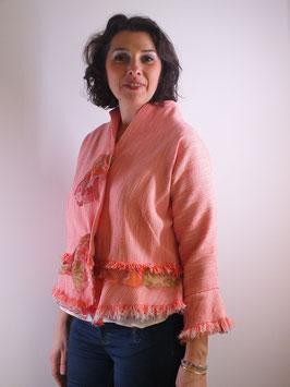 Veste en coton natté orange et ivoire
