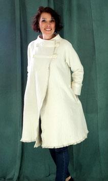 Manteau en gabardine coton lavée double face blanc et mastic