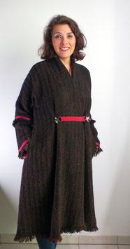 Manteau laine marron fuchsia