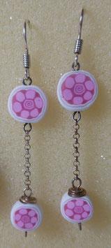 orecchini murrina fiori rosa