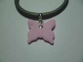 Bracciale silicone+farfalla rosa