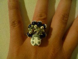 Anello coccinella- palline blu