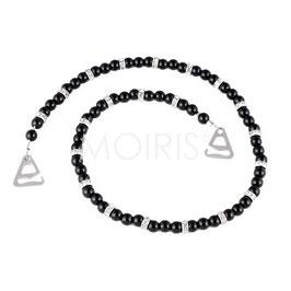 Miranda - BH-Schmuckträger mit schwarzen Perlen und Strass-Elementen