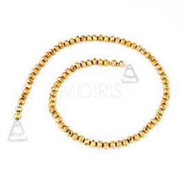Scarlett Gold 6mm - BH-Schmuckträger mit facettierten Perlen goldfarben