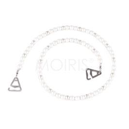 Willow Silver - BH-Schmuckträger aus weißen und silberfarbenen Perlen