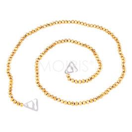 Scarlett Gold 4mm - BH-Schmuckträger mit facettierten Perlen goldfarben
