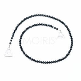 Scarlett Black 4mm - BH-Schmuckträger mit facettierten Perlen schwarz