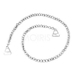 Scarlett Silver 6mm - BH-Schmuckträger mit facettierten Perlen silberfarben