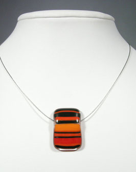 Pendentif rectangle rayé rouge orange  noir