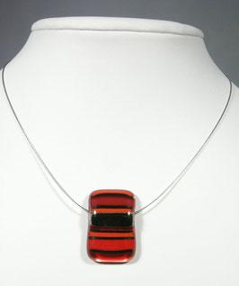 Pendentif rectangle rayé rouge noir