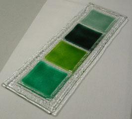 Plateau rectangle 4 carrés émeraude vert-mousse vert-chasseur vert d'eau