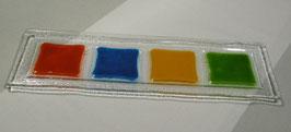 Plateau rectangle 4 carrés flamme bleu océan or vert-foncé