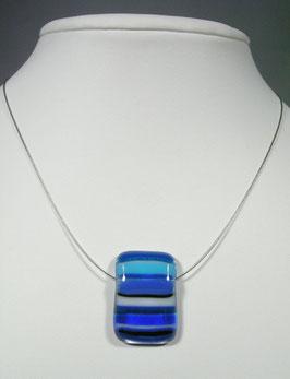 Pendentif rectangle rayé bleu