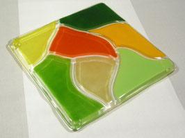 Dessous de plat carré dessins vert foncé - anis - vert mousse - or - jaune - flamme - champagne