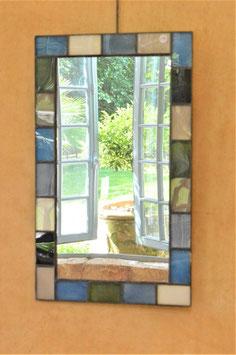 Miroir rectangle dégradés de gris et de bleus
