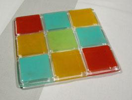 Dessous de plat 9 carrés turquoise vert - or - flamme - anis