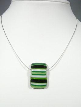 Pendentif rectangle rayé vert