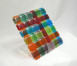 Dessous de plat carré tressé multicolore tons foncés