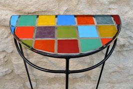 Console demi-lune « damier multicolore »
