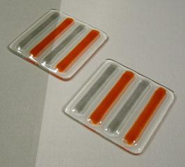 Dessous de bouteille 4 barres orange gris