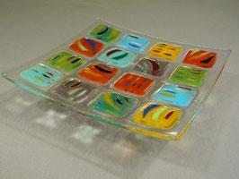 Coupe 16 carrés décor fusionné multicolore