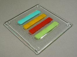 Dessous de plat carré 4 barres anis - flamme - or - turquoise vert