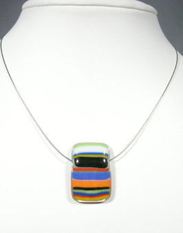 Pendentif rectangle rayé multicolore