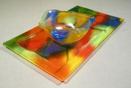 Plat de présentation rectangulaire camaïeu multicolore