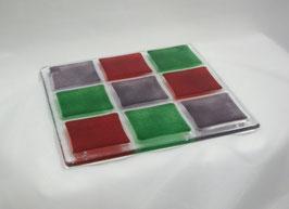 Dessous de plat 9 carrés parme - grenadine - vert - foncé