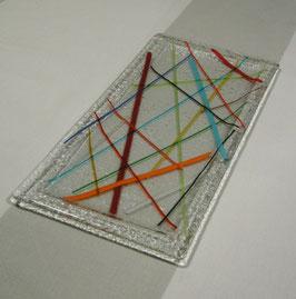 Plat de présentation rectangle décor baguettes multicolores