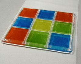 Dessous de plat 9 carrés bleu océan - cerise - jaune - vert mousse