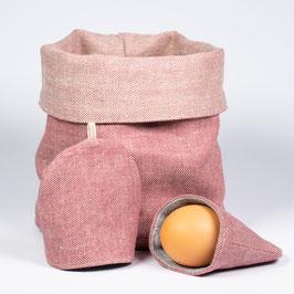 Brotkorb und 2 Eierwärmer aus BioLeinen