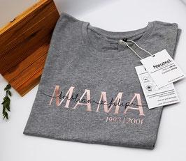 MAMA T-Shirt grau | roségold mit Namen | verschiedene Größen