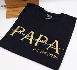 PAPA T-Shirt schwarz   gold mit Namen   verschiedene Größen