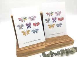 """Postkarte Schmetterlinge """"Gebt ganz besonders Acht auf Euer zartes Wunder."""""""