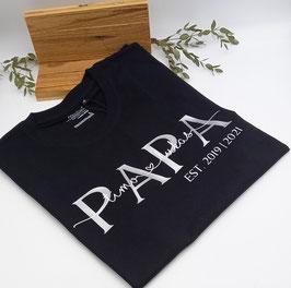 PAPA T-Shirt schwarz   silber mit Namen   verschiedene Größen