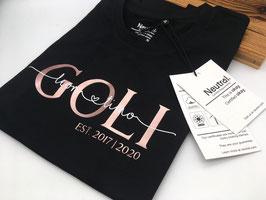 GOLI T-Shirt schwarz | roségold mit Namen | verschiedene Größen