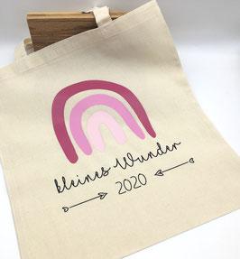 """Regenbogen Tasche """"kleines Wunder"""" mit Geburtsjahr in rosa Bio-Baumwolle"""