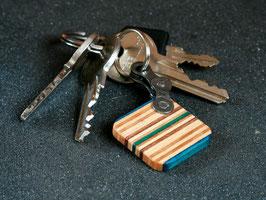 Schlüsselanhänger Quadrat - Blau/Braun/Grün