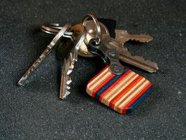 Schlüsselanhänger Quadrat - Blau/Rot/Orange