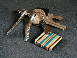 Schlüsselanhänger Quadrat - Schwarz/Türkis